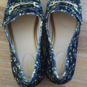 CAbi Shoes - CAbi Carnaby Blue Floral Velvet 9M Loafer NWOB